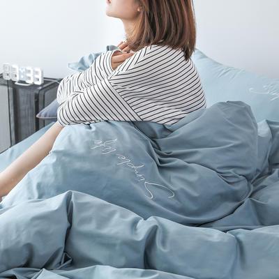 2019新款-60磨毛四件套(模特图) 床单款1.8m(6英尺)床 矢车菊蓝