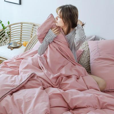 2019新款-60磨毛四件套(模特图) 床单款1.8m(6英尺)床 樱花粉
