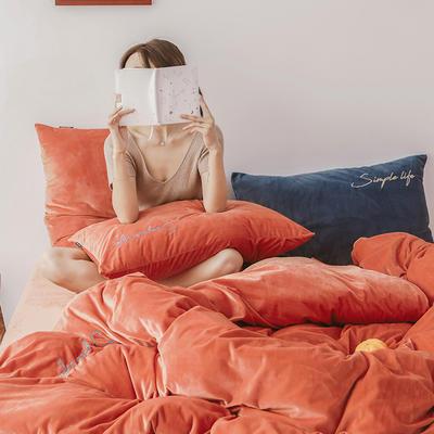 2019新款-2019新款-水晶绒宝宝绒牛奶绒简绒系列四件套简绒系列四件套(模特图) 床单款1.8m(6英尺)床 简绒-暖橙