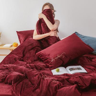 2019新款-2019新款-水晶绒宝宝绒牛奶绒简绒系列四件套简绒系列四件套(模特图) 床单款1.8m(6英尺)床 简绒-暖红
