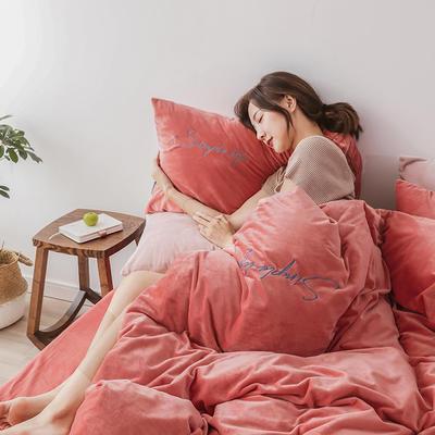 2019新款-2019新款-水晶绒宝宝绒牛奶绒简绒系列四件套简绒系列四件套(模特图) 床单款1.8m(6英尺)床 简绒-珊瑚粉