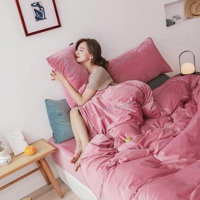 2019新款-2019新款-水晶绒宝宝绒牛奶绒简绒系列四件套简绒系列四件套(模特图) 床单款1.8m(6英尺)床 简绒-脏粉