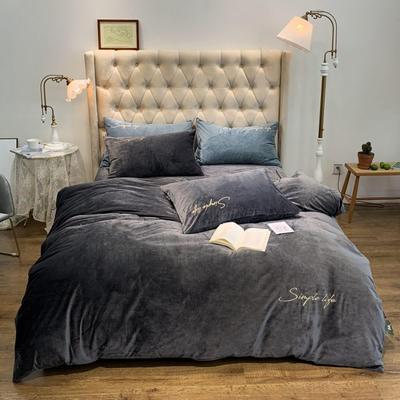 2019新款-简绒系列四件套(实拍图) 床单款1.8m(6英尺)床 简绒-高级灰