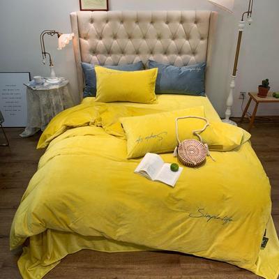 2019新款-简绒系列四件套(实拍图) 床单款1.8m(6英尺)床 简绒-柠黄