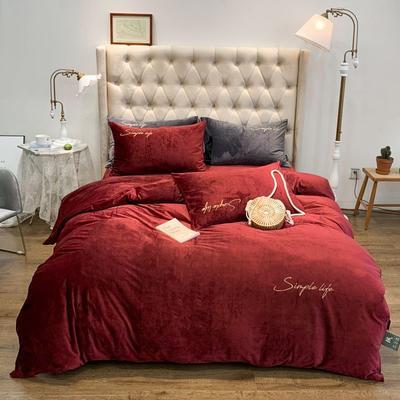 2019新款-简绒系列四件套(实拍图) 床单款1.8m(6英尺)床 简绒-暖红