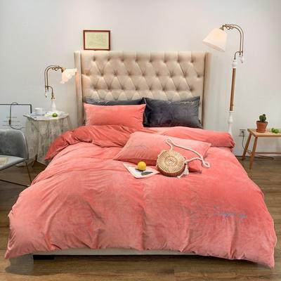 2019新款-简绒系列四件套(实拍图) 床单款1.8m(6英尺)床 简绒-珊瑚粉