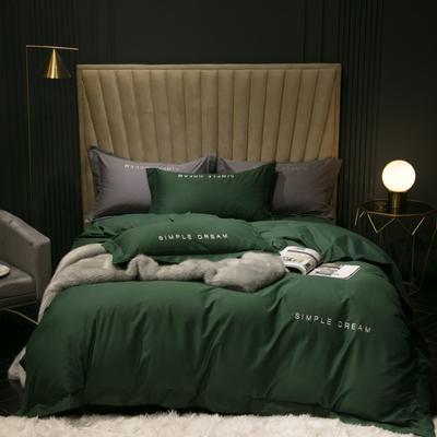2019新款-100s澳棉轻磨毛四件套 床单款1.8m(6英尺)床 德鲁纳-墨绿