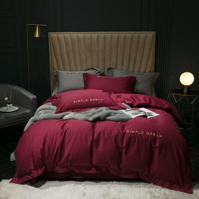 2019新款-100s澳棉轻磨毛四件套 床单款1.8m(6英尺)床 德鲁纳-洋酒红