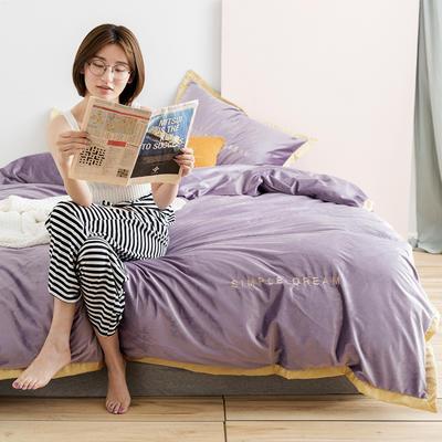 2019新款丽丝绒刺绣四件套(有模特) 1.8m(床单款四件套) 卡洛琳-浅紫