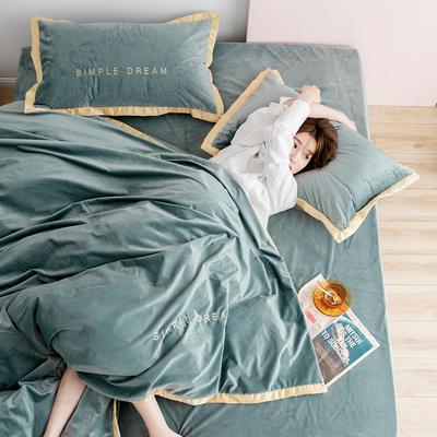 2019新款丽丝绒刺绣四件套(有模特) 1.8m(床单款四件套) 卡洛琳-青雾