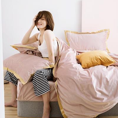 2019新款丽丝绒刺绣四件套(有模特) 1.8m(床单款四件套) 卡洛琳-烟粉