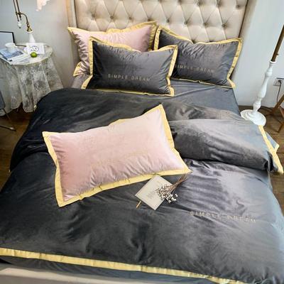 2019新款丽丝绒刺绣四件套 1.8m(床单款四件套) 卡洛琳-深灰