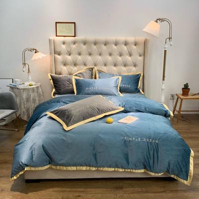 2019新款丽丝绒刺绣四件套 1.8m(床单款四件套) 卡洛琳-烟蓝