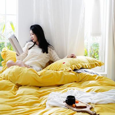2019新款-水晶绒荷叶边绣花绒类四件套模特图 床单款1.8m(6英尺)床 荷叶边-拧黄