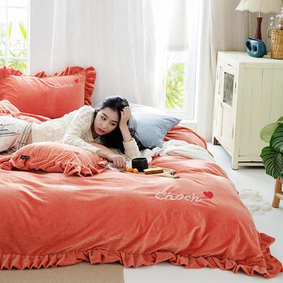 2019新款-水晶绒荷叶边绣花绒类四件套模特图 床单款1.8m(6英尺)床 荷叶边-暖橙