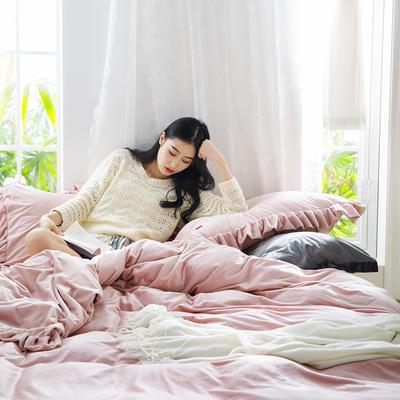 2019新款-水晶绒荷叶边绣花绒类四件套模特图 床单款1.8m(6英尺)床 荷叶边-浅粉