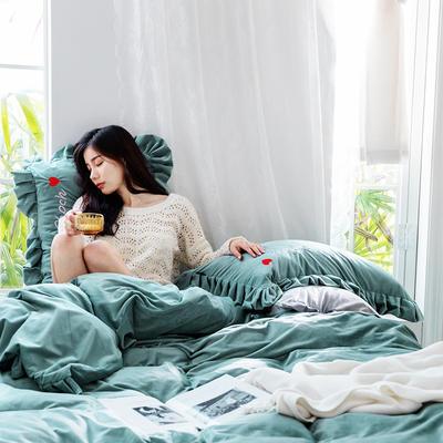 2019新款-水晶绒荷叶边绣花绒类四件套模特图 床单款1.8m(6英尺)床 荷叶边-青雾