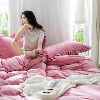 2019新款-水晶绒荷叶边绣花绒类四件套模特图 床单款1.8m(6英尺)床 荷叶边-脏粉
