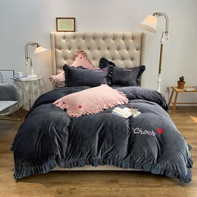 2019新款-水晶绒荷叶边绣花绒类四件套实拍图 床单款1.8m(6英尺)床 荷叶边—高级灰