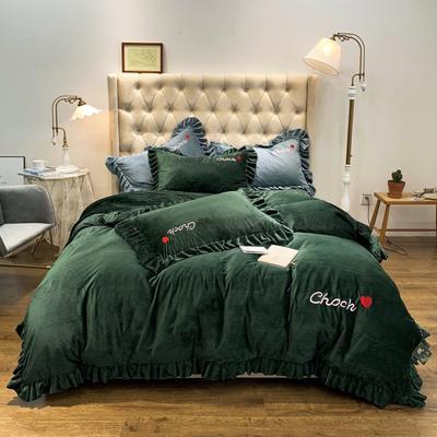 2019新款-水晶绒荷叶边绣花绒类四件套实拍图 床单款1.8m(6英尺)床 荷叶边-墨绿
