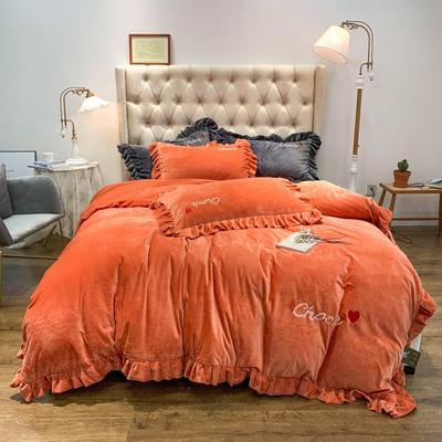 2019新款-水晶绒荷叶边绣花绒类四件套实拍图 床单款1.8m(6英尺)床 荷叶边-暖橙