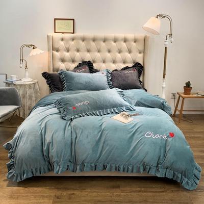 2019新款-水晶绒荷叶边绣花绒类四件套实拍图 床单款1.8m(6英尺)床 荷叶边-青雾