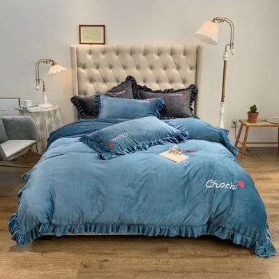 2019新款-水晶绒荷叶边绣花绒类四件套实拍图 床单款1.8m(6英尺)床 荷叶边-烟蓝