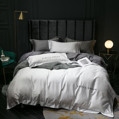 2019新款-100s澳棉双拼四件套 床单款1.8m(6英尺)床 本白-深灰