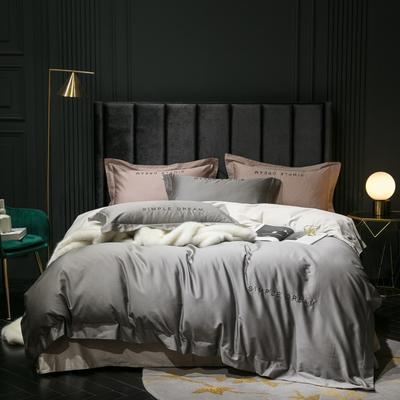 2019新款-100s澳棉双拼四件套 床单款1.8m(6英尺)床 帝王灰-羊驼