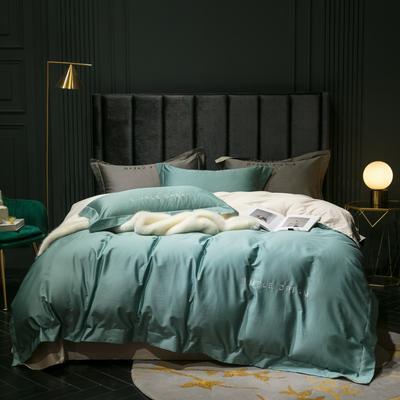 2019新款-100s澳棉双拼四件套 床单款1.8m(6英尺)床 橄榄绿-羊驼