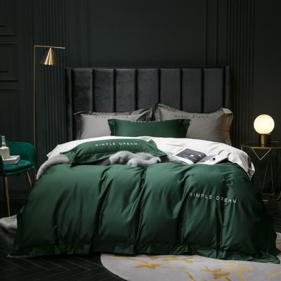 2019新款-100s澳棉双拼四件套 床单款1.8m(6英尺)床 祖母绿-羊驼