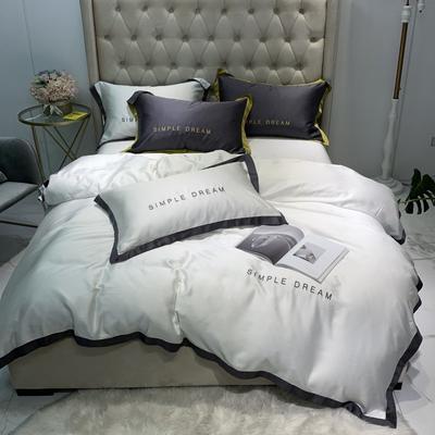 2020新款-60蘭精天絲四件套-傾城 床單款1.5m(5英尺)床 傾城-素白