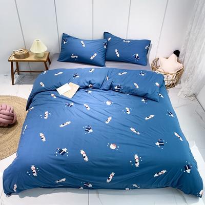 2020新款-全棉針織棉印花四件套 床單款1.5m(5英尺)床 大白兔奶糖