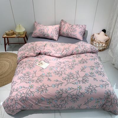 2020新款-全棉針織棉印花四件套 床單款1.5m(5英尺)床 繁花-粉