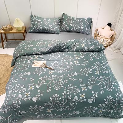 2020新款-全棉针织棉印花四件套 床单款1.5m(5英尺)床 繁花-绿