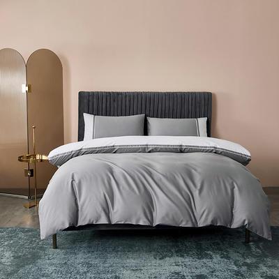 2020新款-60贡缎长绒棉四件套巴塞罗那 床单款四件套1.5m(5英尺)床 冰川灰