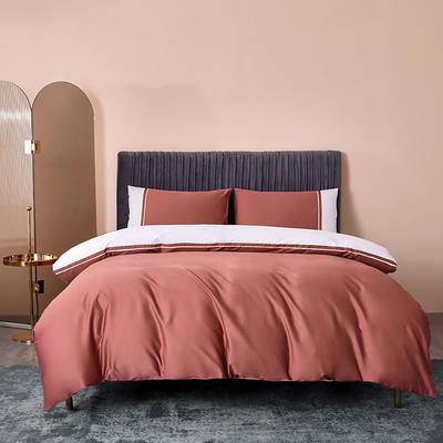 2020新款-60贡缎长绒棉四件套巴塞罗那 床单款四件套1.5m(5英尺)床 裸豆沙