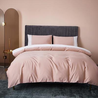 2020新款-60贡缎长绒棉四件套巴塞罗那 床单款四件套1.5m(5英尺)床 奶油粉