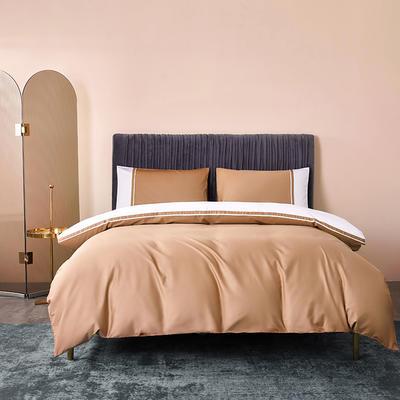 2020新款-60贡缎长绒棉四件套巴塞罗那 床单款四件套1.5m(5英尺)床 浅麦色