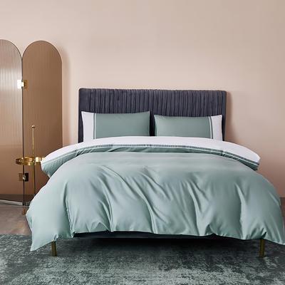 2020新款-60贡缎长绒棉四件套巴塞罗那 床单款四件套1.5m(5英尺)床 浅石绿