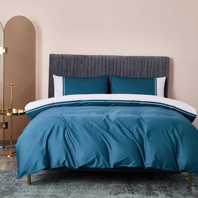 2020新款-60贡缎长绒棉四件套巴塞罗那 床单款四件套1.5m(5英尺)床 素蓝色