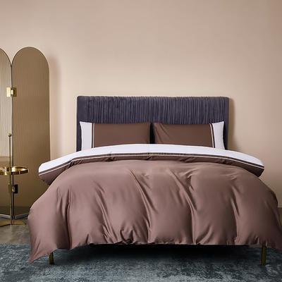2020新款-60贡缎长绒棉四件套巴塞罗那 床单款四件套1.5m(5英尺)床 烟雾色