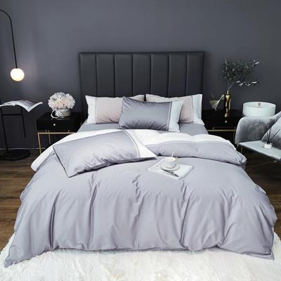 2020新款-60贡缎长绒棉四件套巴塞罗那实拍图 床单款四件套1.5m(5英尺)床 冰川灰