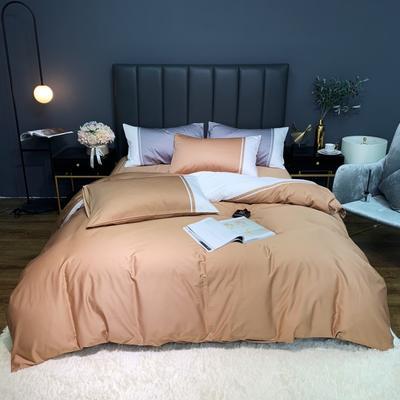 2020新款-60贡缎长绒棉四件套巴塞罗那实拍图 床单款四件套1.5m(5英尺)床 浅麦色