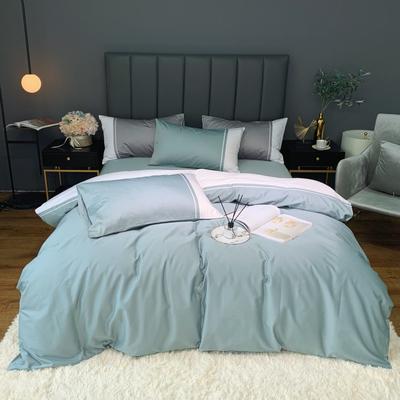 2020新款-60贡缎长绒棉四件套巴塞罗那实拍图 床单款四件套1.5m(5英尺)床 浅石绿