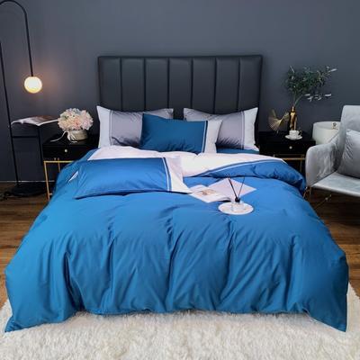 2020新款-60贡缎长绒棉四件套巴塞罗那实拍图 床单款四件套1.5m(5英尺)床 素蓝色