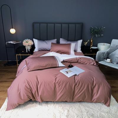 2020新款-60贡缎长绒棉四件套巴塞罗那实拍图 床单款四件套1.5m(5英尺)床 烟雾色