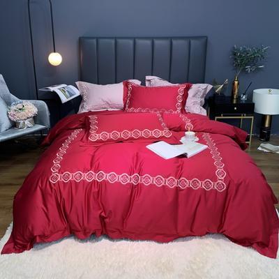 2020新款-100支绣花四件套罗伊 床单款四件套1.5m(5英尺)床 酒红