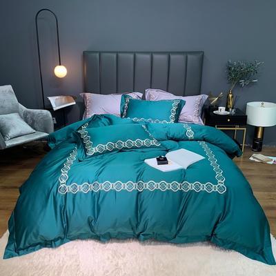 2020新款-100支绣花四件套罗伊 床单款四件套1.5m(5英尺)床 墨绿