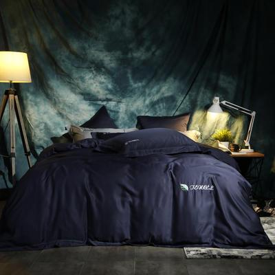 2019新款-60天絲純色刺繡四件套 1.8m(6英尺)床 西爾維雅